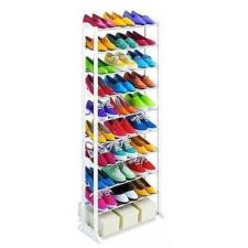 10 soros cipőtároló - fehér, 51,5 x 16,3 x 7 cm, műanyag és fém bútor