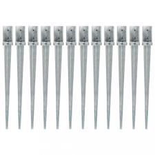 12 db ezüstszínű horganyzott acél kerítéstüske 8 x 8 x 91 cm építőanyag