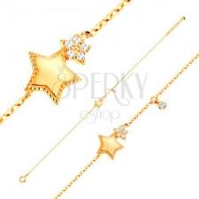 14K sárga arany karkötő - két ötágú csillag és kerek cirkónia karkötő