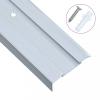 15 db ezüstszínű L-alakú alumínium lépcső élvédő 134 cm