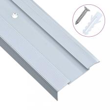 15 db ezüstszínű L-alakú alumínium lépcső élvédő 134 cm építőanyag