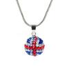 18 karátos fehérarannyal bevont brit zászlós nyaklánc kristályokkal + AJÁNDÉK DÍSZDOBOZ (0997.)
