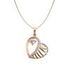 18k arannyal bevont sávos szív nyaklánc áttetsző cirkónia kristályokkal + AJÁNDÉK DÍSZDOBOZ (1192.)