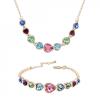 18k arannyal bevont szívfűzér ékszerszett (nyaklánc+karkötő) színes Swarovski kristályokkal + AJÁNDÉK DÍSZDOBOZ (0060.)