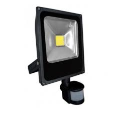 20W mozgásérzékelős LED reflektor - fényvető (hideg fehér, 3 funkciós mozgásérzékelővel, FEKETE házas) biztonságtechnikai eszköz