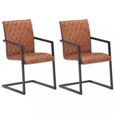 2 db barna valódi bőr szánkótalpas étkezőszék bútor