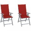 2 db dönthető tömör akácfa kerti szék párnákkal