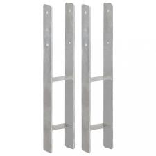 2 db ezüstszínű horganyzott acél kerítéshorgony 10 x 6 x 60 cm építőanyag