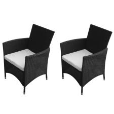 2 db fekete polyrattan kerti szék kerti bútor