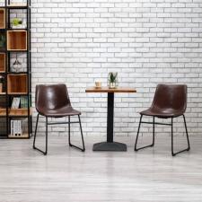 2 db fényes barna műbőr étkezőszék bútor