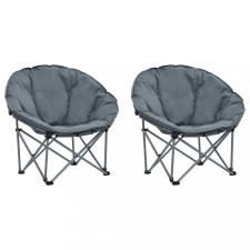 2 db szürke összecsukható Papasan szék kemping felszerelés