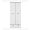 2ajtós szekrény 2d1s fiókkal, DTD laminált, fehér + sonoma tölgyfa, TOPTY