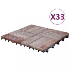 33 db tömör újrahasznosított fa padlólap 30 x 30 cm építőanyag