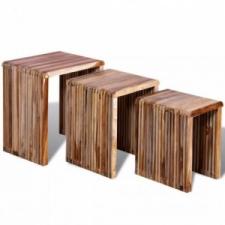 3 db egymásba tolható tömör újrahasznosított tíkfa asztal bútor