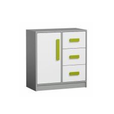 3-fiókos komód, szürke/fehér/zöld, PIERE P07 bútor