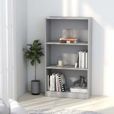 3-szintes szürke forgácslap könyvszekrény 60 x 24 x 108 cm bútor