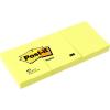 3M POSTIT Öntapadó jegyzettömb, 38x51 mm, 100 lap, 3 tömb, 3M POSTIT, sárga