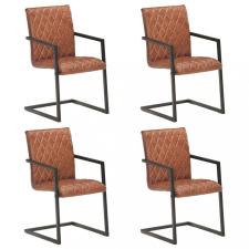 4 db barna valódi bőr szánkótalpas étkezőszék bútor