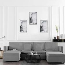 4 személyes világosszürke kihúzható szövet kanapéágy bútor