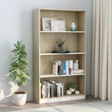 4-szintes fehér és sonoma forgácslap könyvszekrény 80x24x142 cm bútor
