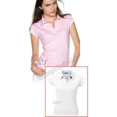 SOLS 11325 Pretty női galléros póló - fehér