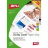 APLI Premium Laser lézer fotópapír, fényes, kétoldalas , A4, 160gr