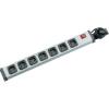 Kapcsolós elosztó világítós 7 részes alu szürke-fekete 1,5m EHMANN