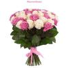 50 szál rózsaszín és fehér rózsa