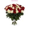 50 szál vörös és fehér rózsa