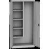 KSPS 01 U tisztítószer szekrény, 4 fix polc, akasztók, vödörtartó