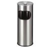 VEPA BINS Tűzálló szemetes, rozsdamentes acél, hamutartóval kombinált, VEPA BINS, ezüst szemetes
