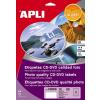 APLI Etikett, CD/DVD, A4, teljes lefedettségű, fényes, fotó minőségű, APLI