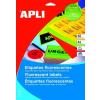 APLI Etikett, 210x297 mm, színes, APLI, neon sárga, 100 etikett/csomag