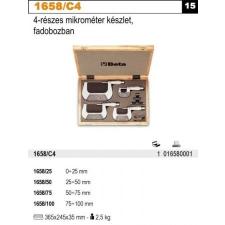 Beta 1658/C4 4 részes mikrométer készlet, fadobozban mérőszerszám