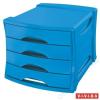 ESSELTE Irattároló, műanyag, 4 fiókos, ESSELTE Europost, Vivida kék (E623961)