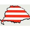 Árpádsávos hűtőmágnes Nagy-Magyarország körvonallal 14x8,5 cm