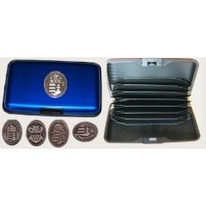 Bankkártya tartó metál kék színű ón Erdély címer matricával