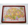 Asztalra tehető és falra akasztható üveglapos fakeretes Nagy - Magyarország térkép 21X30 cm