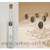 Ón Kossuth címeres hosszú pálinkás üveg, 6db ón Kossuth címkés talpas pálnikás pohárral (tulipános,grappás pohár)