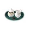 . Tejszínkiöntő, porcelán, 25 cl, négyszögletes, ROTBERG, zöld virágos