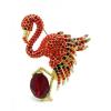 Flamingó bross aranybevonattal, Swarovski kristályos díszítéssel + AJÁNDÉK DÍSZDOBOZ
