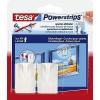 Tesa tesa® Powerstrips képtartó szög/58031-00020-00 fehér, 2 kampó, 4 ragasztócsík TESA Tartalom: 1 tekercs