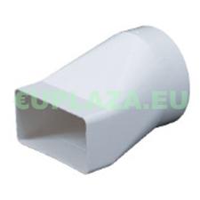 Átalakító, KP55-20, 100 mm-es kör keresztmetszetű légcsatornát 55 x 110 mm-es négyszögletűvé, excentrikus, műanyag barkácsolás, csiszolás, rögzítés