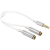 DELOCK Cable Audio Stereo jack male 3.5 mm>2xStereo jack female 3 pin 25cm white
