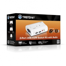 Trendnet TK-209K 2 portos USB2.0 KVM switch audio porttal TK-209K hub és switch