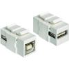 USB modul, USB 2.0 A típusú aljról USB 2.0 B típusú aljra, fehér, Keystone