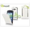 Muvit Samsung i8260 Galaxy Core flipes tok képernyővédő fóliával - Muvit Slim - white