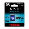 Toshiba Memóriakártya, Micro SDXC, 64GB, Class 10, adapterrel, TOSHIBA