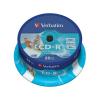 Verbatim CD-R lemez, nyomtatható, matt, ID, AZO, 700MB, 52x, hengeren,