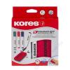 KORES Tábla- és flipchart marker készlet mágneses táblatörlő szivaccsal, 1-4 mm, vágott, KORES, 4 különböző szín (IK20865)